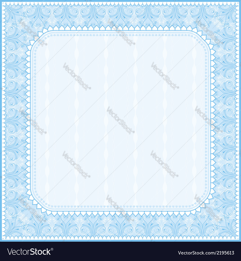 Square blue background with decorative ornaments vector | Price: 1 Credit (USD $1)
