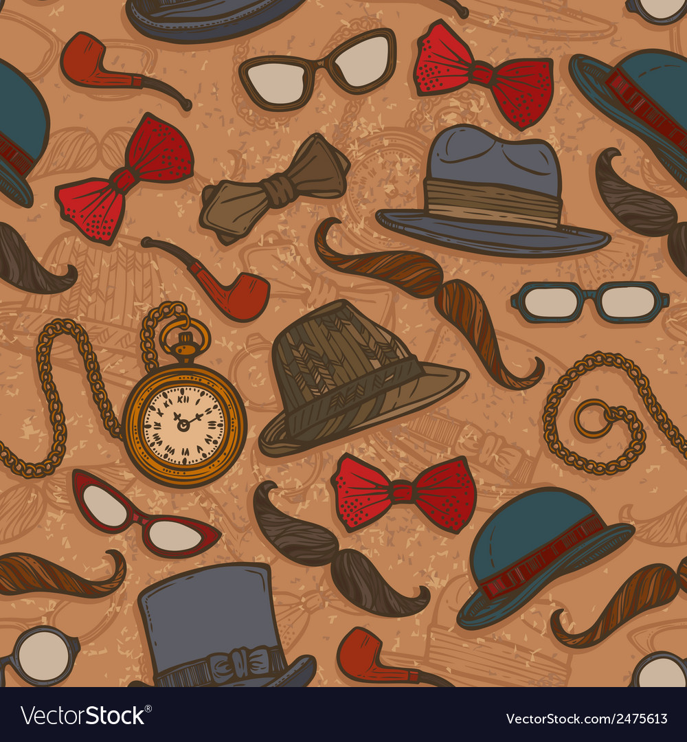 Vintage hats and glasses color seamless pattern vector | Price: 1 Credit (USD $1)