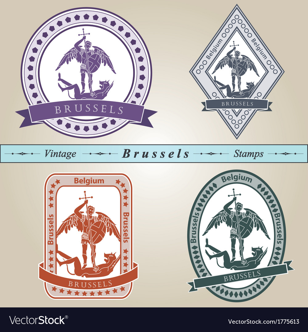 Vintage stamp brussels vector | Price: 1 Credit (USD $1)