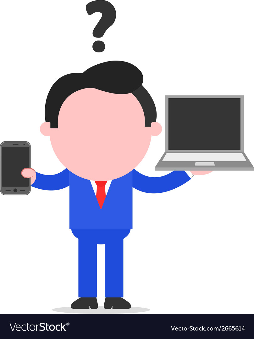 Businessman between smartphone and laptop vector | Price: 1 Credit (USD $1)