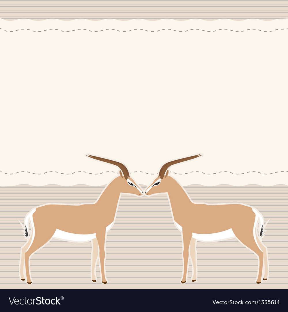 Card with two gazelles vector | Price: 1 Credit (USD $1)
