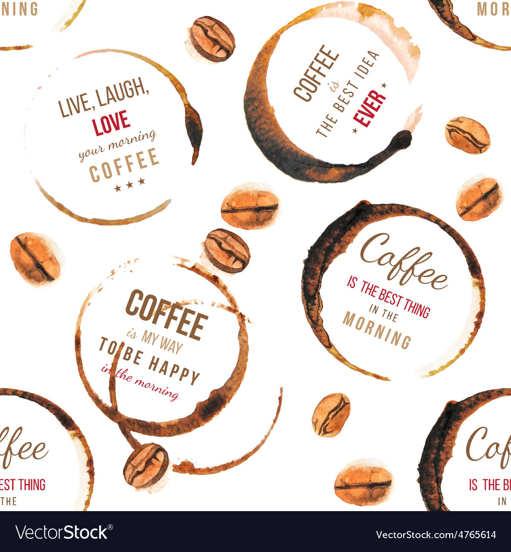 Coffee stains with type designs seamless pattern vector | Price: 1 Credit (USD $1)