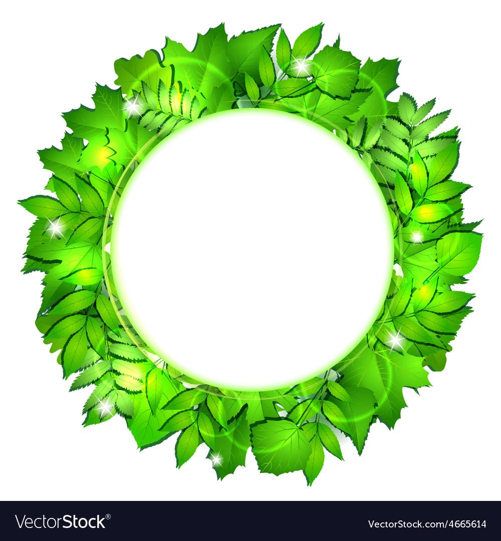 Fresh green leaves border vector | Price: 3 Credit (USD $3)