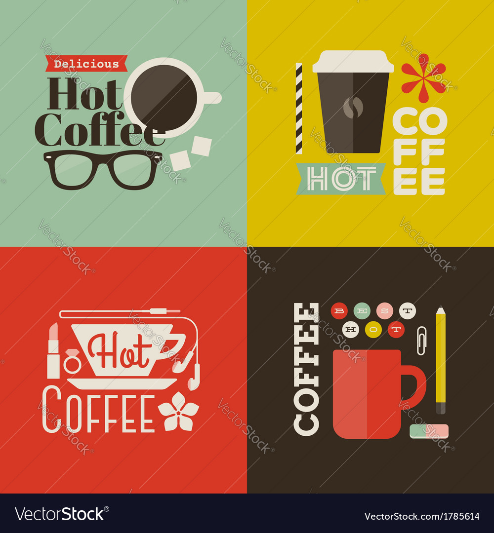 Hot coffee collection of design elements vector