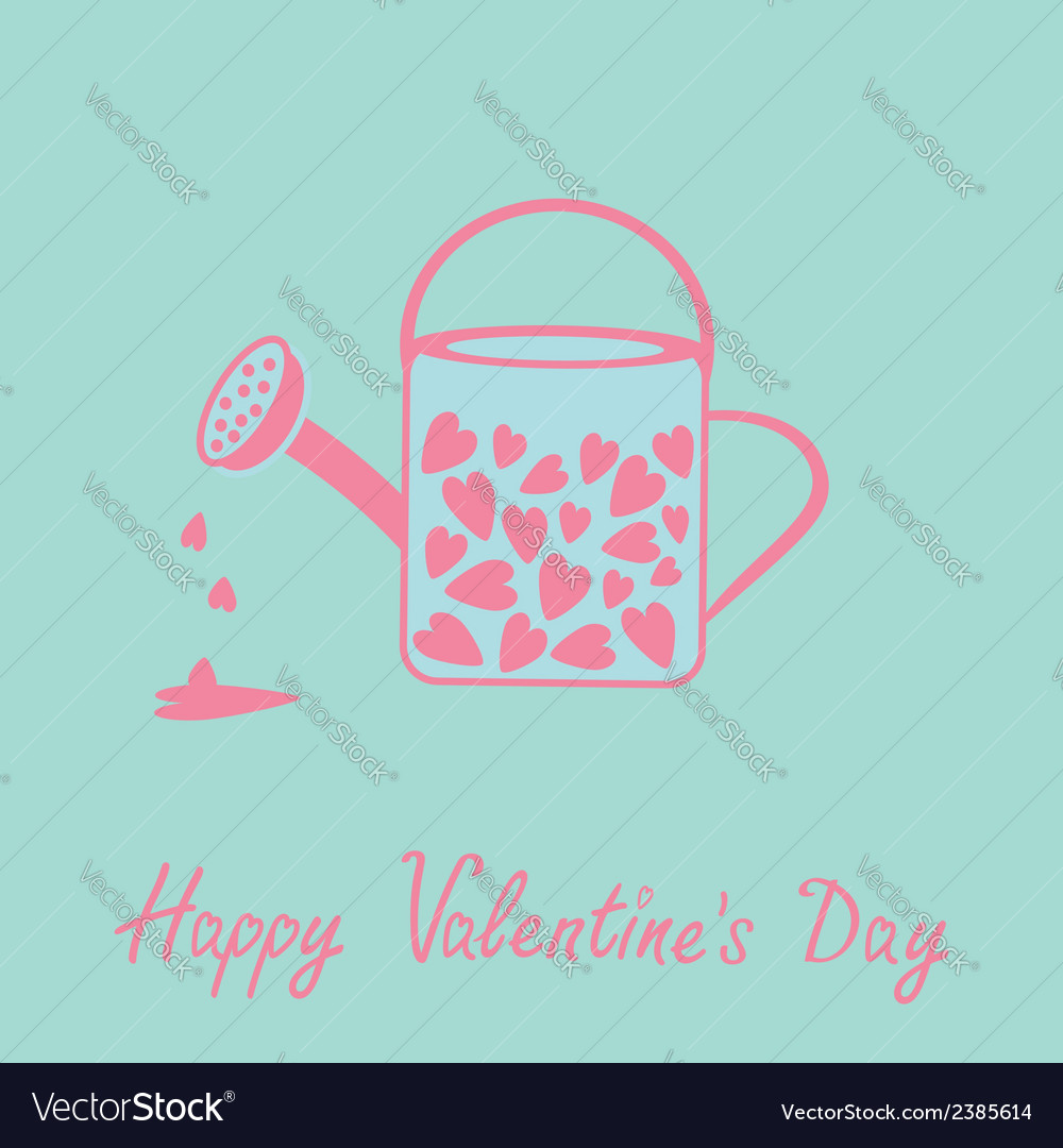 Love watering can with hearts inside pink and blue vector | Price: 1 Credit (USD $1)