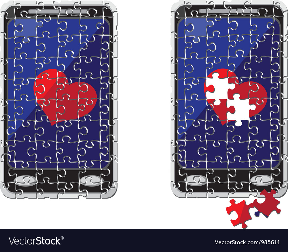 Puzzle smart phone and heart vector | Price: 1 Credit (USD $1)