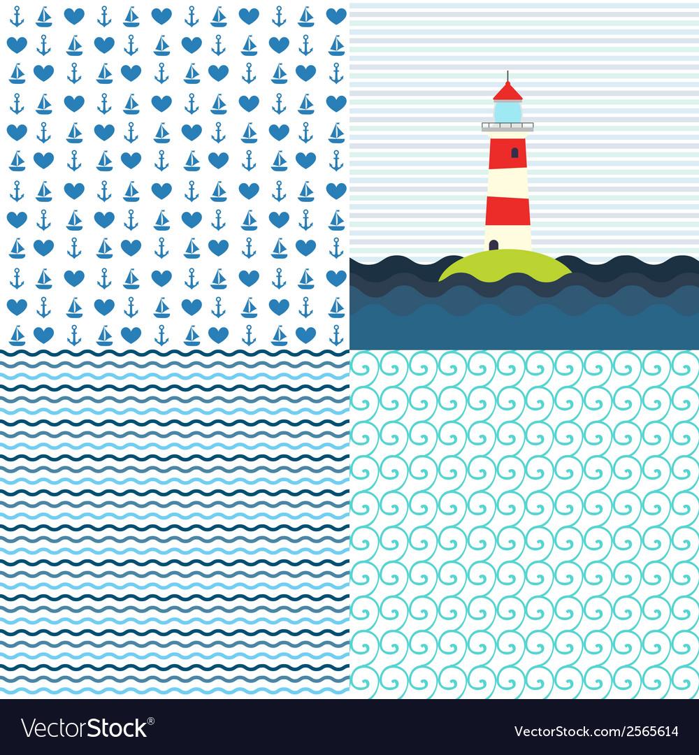 Sea patterns set vector | Price: 1 Credit (USD $1)