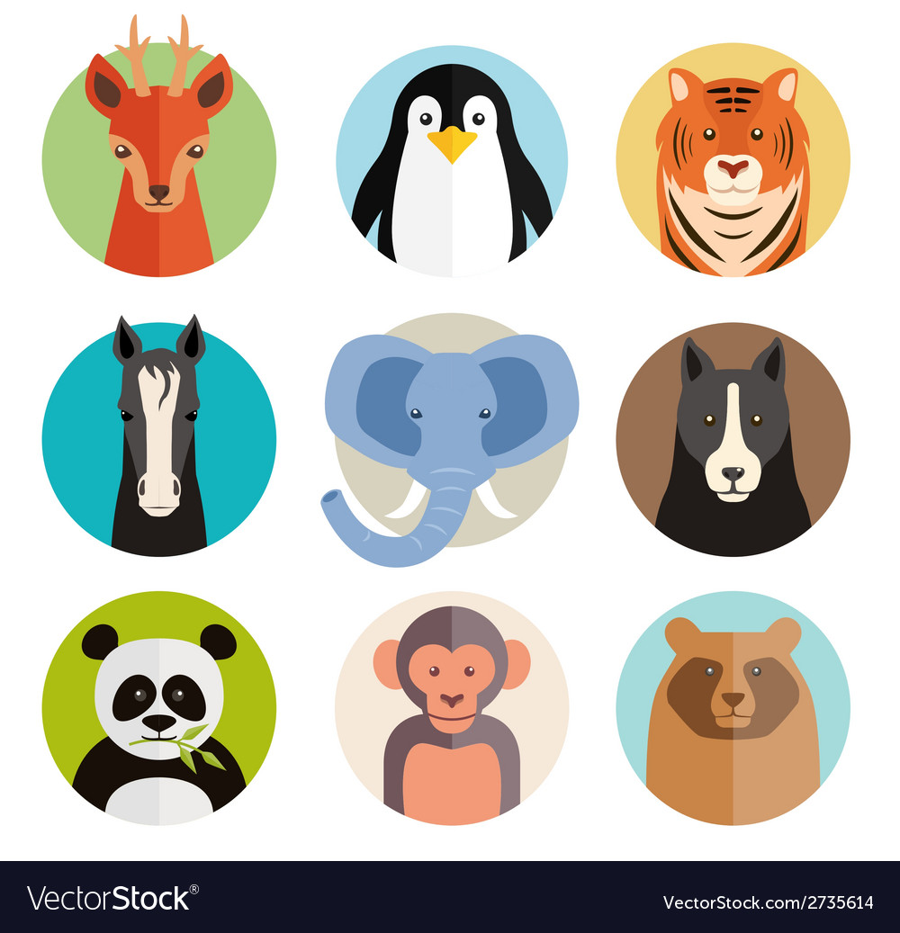 Set of animal icons in round buttons vector | Price: 1 Credit (USD $1)