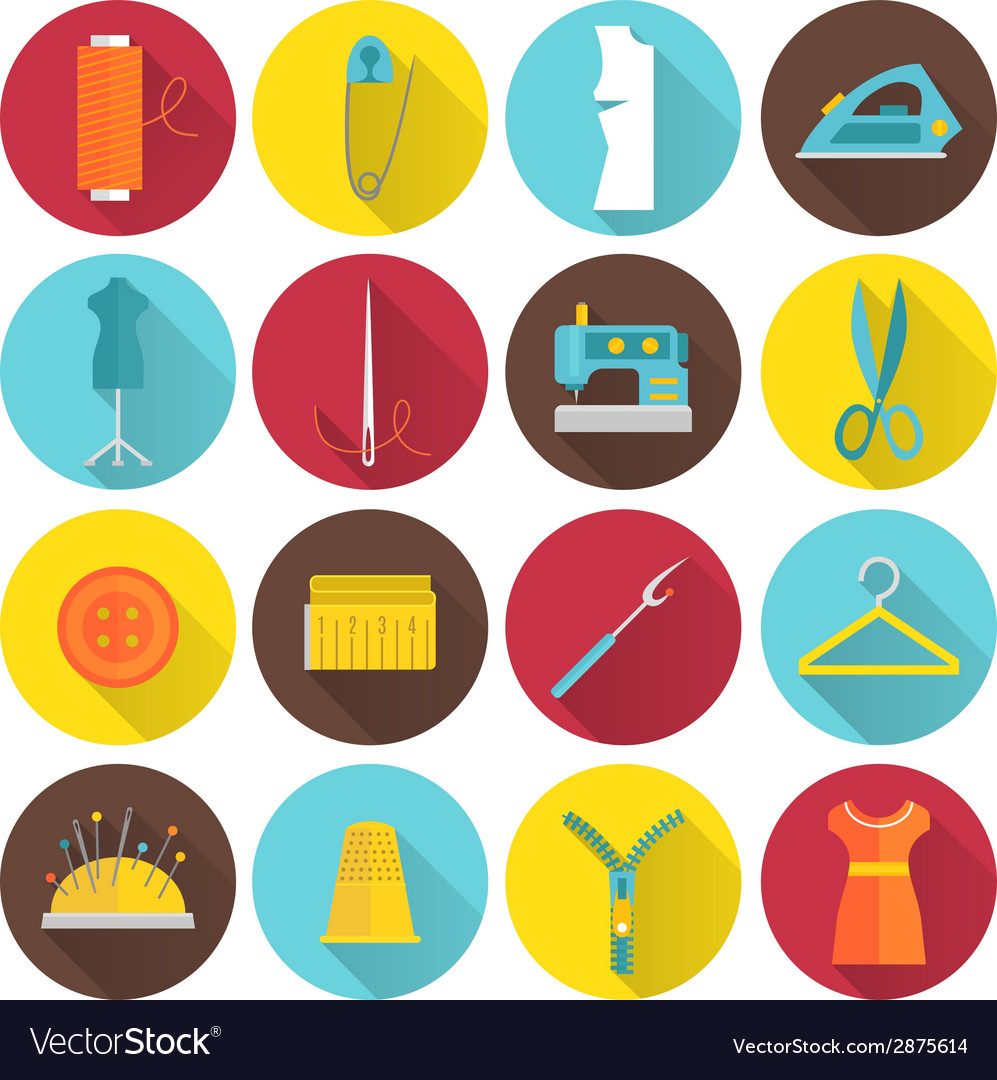 Sewing equipment icons vector | Price: 1 Credit (USD $1)