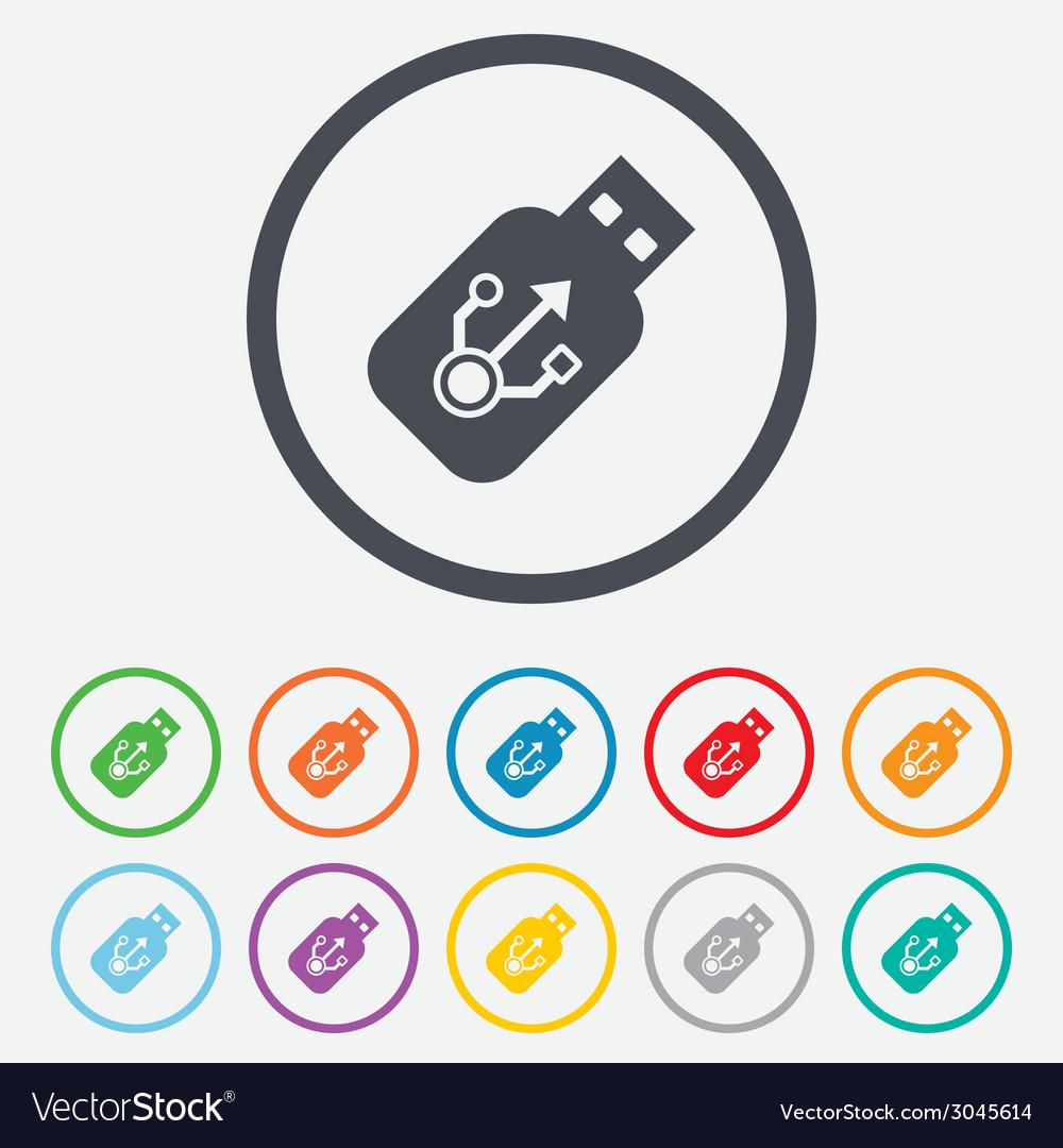 Usb sign icon usb flash drive stick symbol vector | Price: 1 Credit (USD $1)