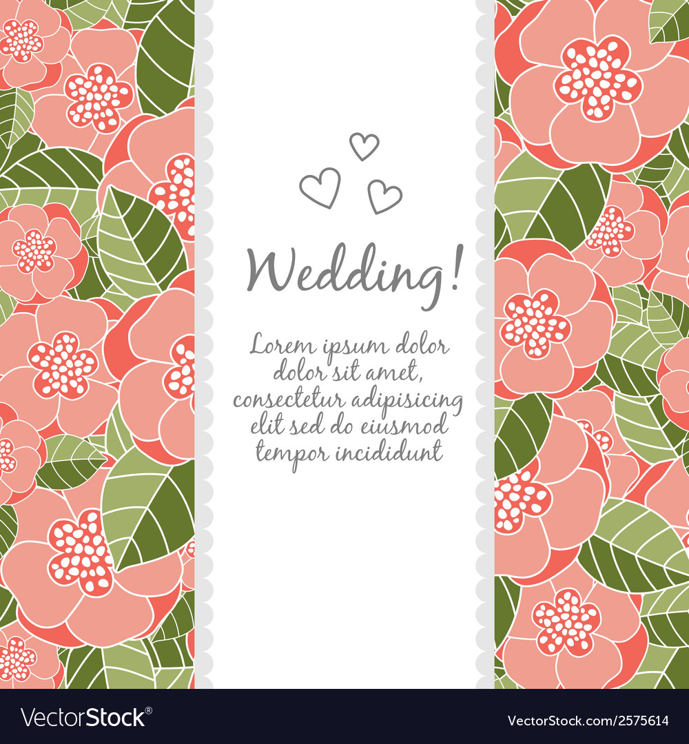 Wedding card with floral elements vector | Price: 1 Credit (USD $1)