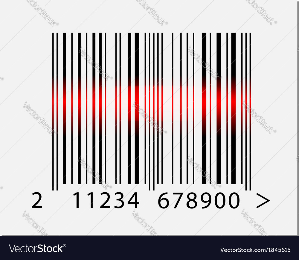 Barcode icon with red laser beam vector | Price: 1 Credit (USD $1)