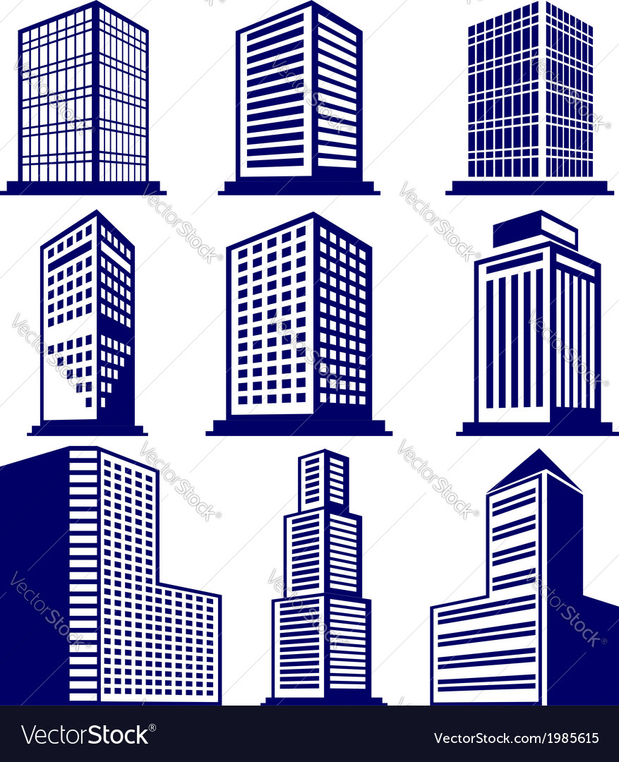 Buildings abstract icon set vector | Price: 1 Credit (USD $1)