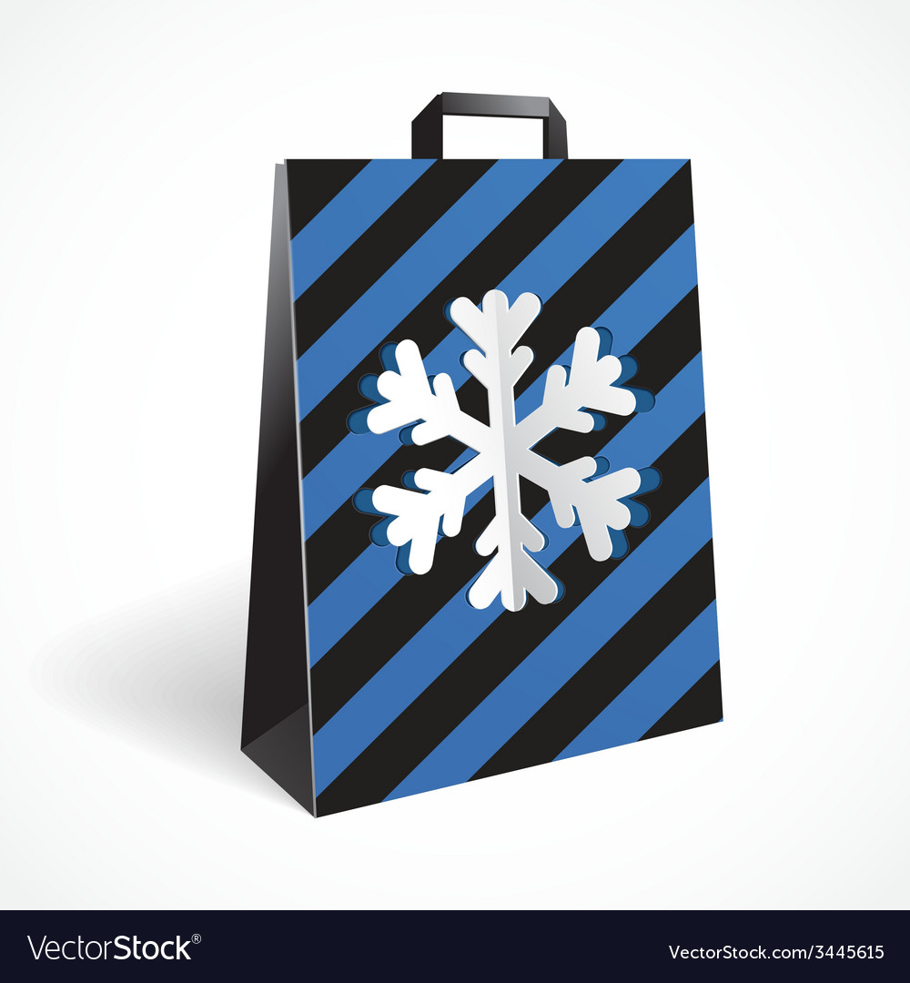 Festive black striped paper-bag with cut out vector | Price: 1 Credit (USD $1)