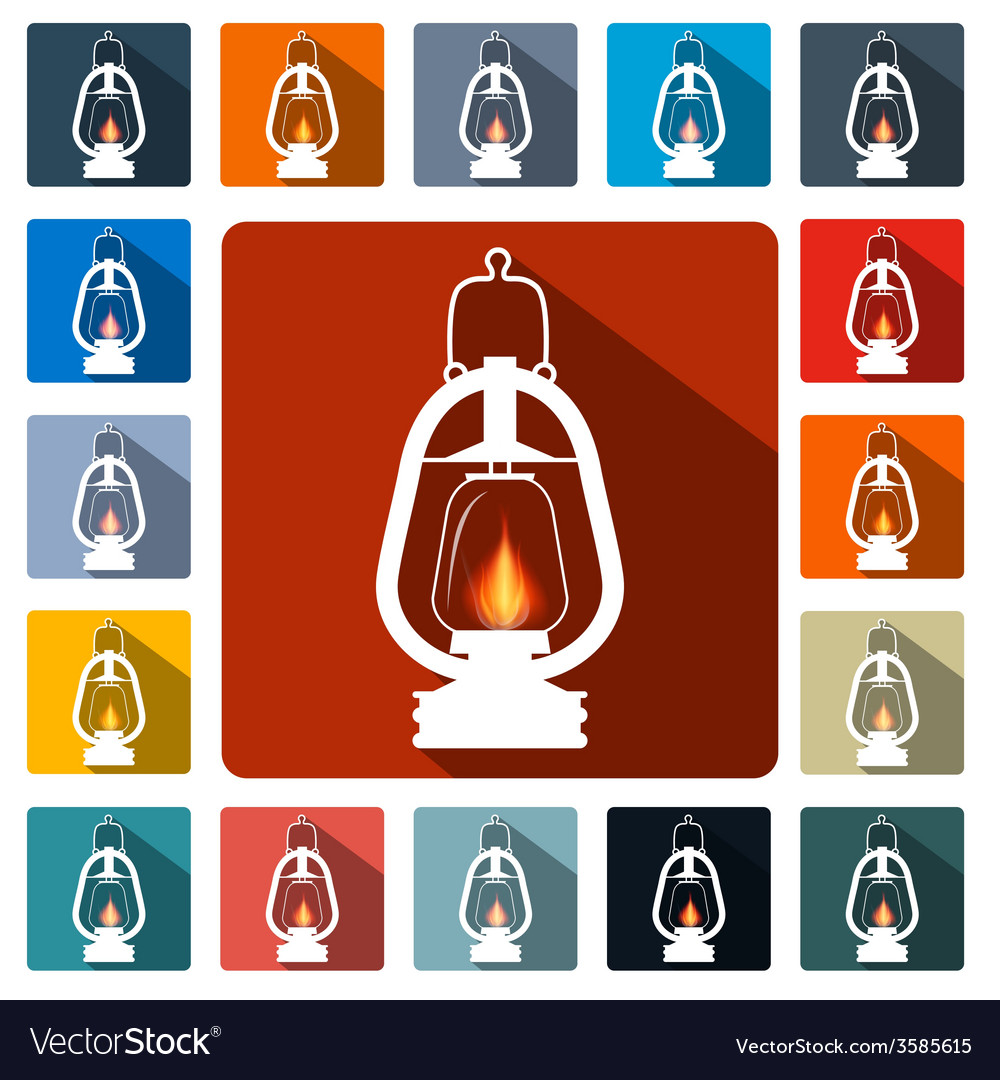 Flat design gas lamps icon set vector | Price: 1 Credit (USD $1)