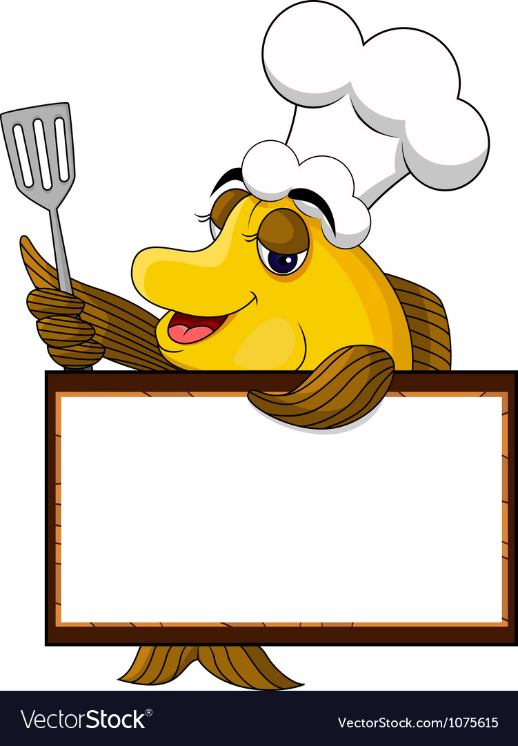 Funny yellow cartoon cook fish with blank sign vector | Price: 3 Credit (USD $3)