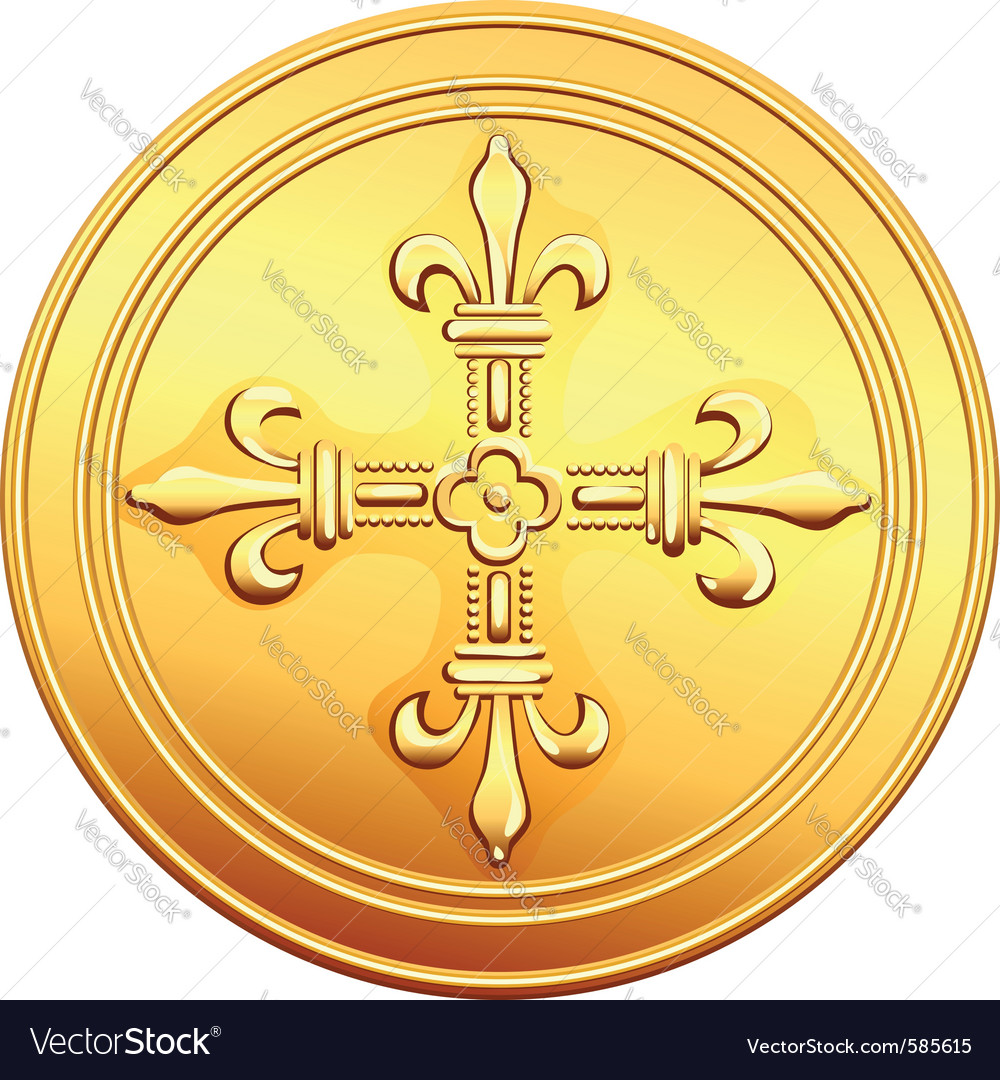 Gold coin french ecu reverse vector | Price: 1 Credit (USD $1)