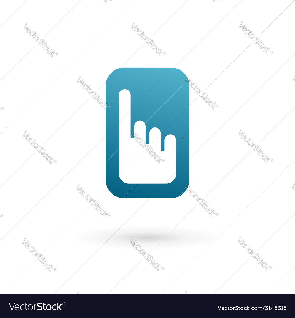 Mobile phone hand touch screen app logo icon vector | Price: 1 Credit (USD $1)