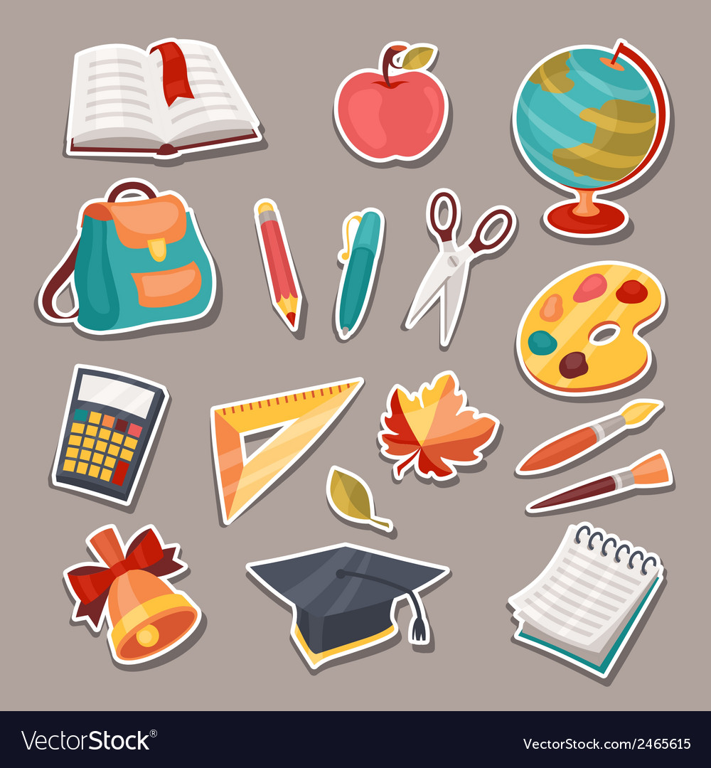 School and education icons symbols objects set vector | Price: 1 Credit (USD $1)