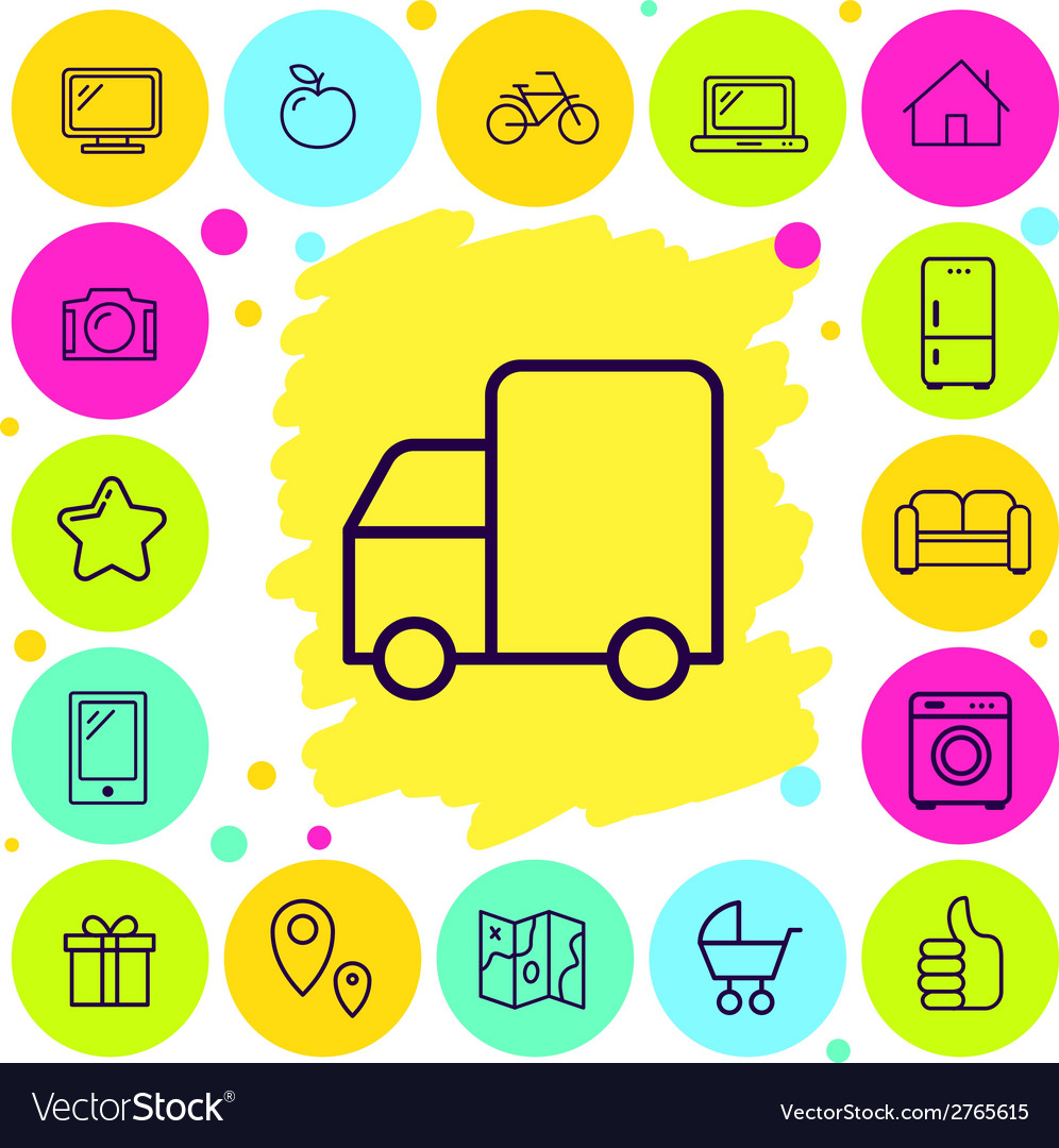 Set of delivery icons vector | Price: 1 Credit (USD $1)