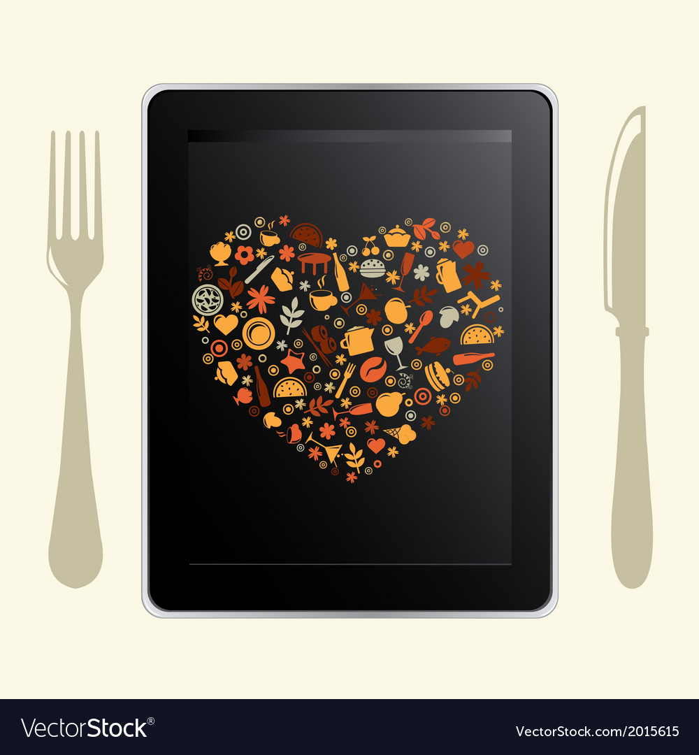 Tablet computer and food icons vector | Price: 1 Credit (USD $1)