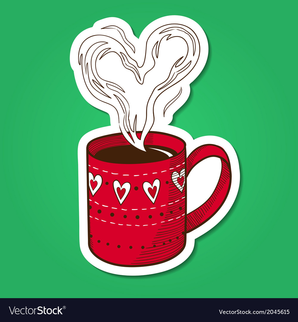 Tea or coffee cup with heart shaped steam vector | Price: 1 Credit (USD $1)