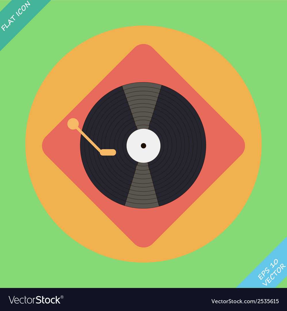 Turntable player icon flat design vector | Price: 1 Credit (USD $1)