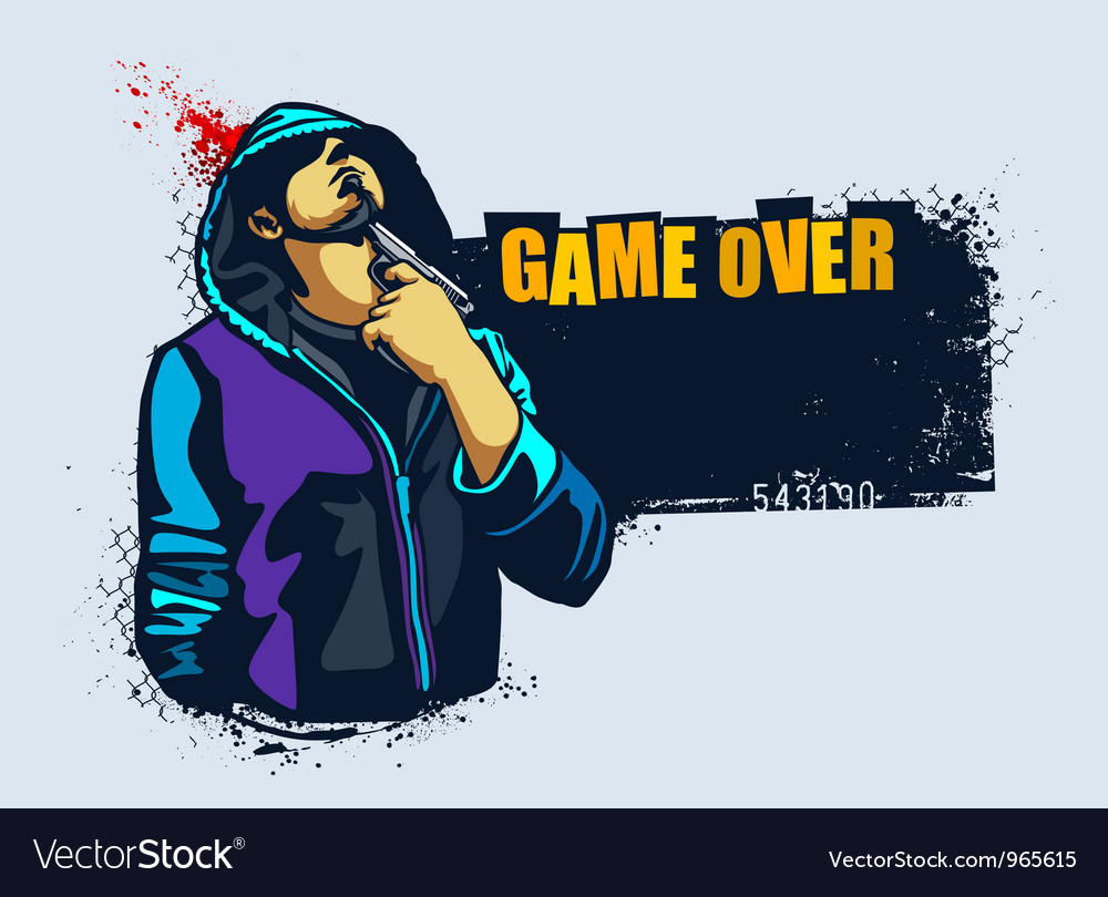 Young gangster with gun vector | Price: 3 Credit (USD $3)