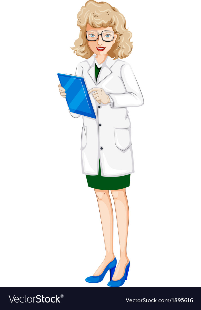 A female doctor with a chart vector | Price: 1 Credit (USD $1)