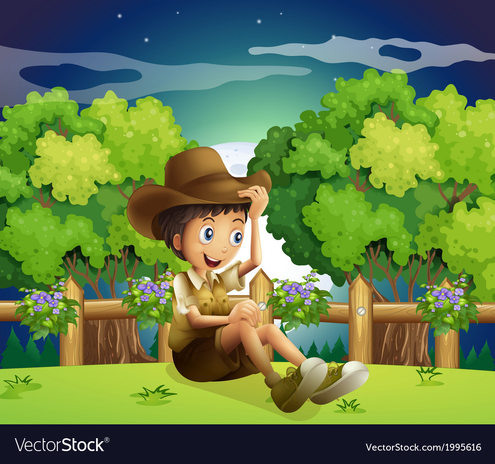 A young explorer above the hill vector | Price: 3 Credit (USD $3)