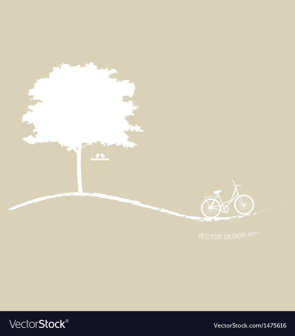 Abstract tree background with bicycle vector | Price: 1 Credit (USD $1)