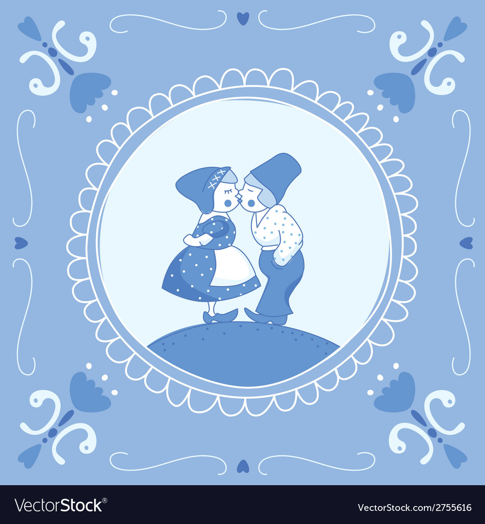 Delft blue children vector | Price: 1 Credit (USD $1)