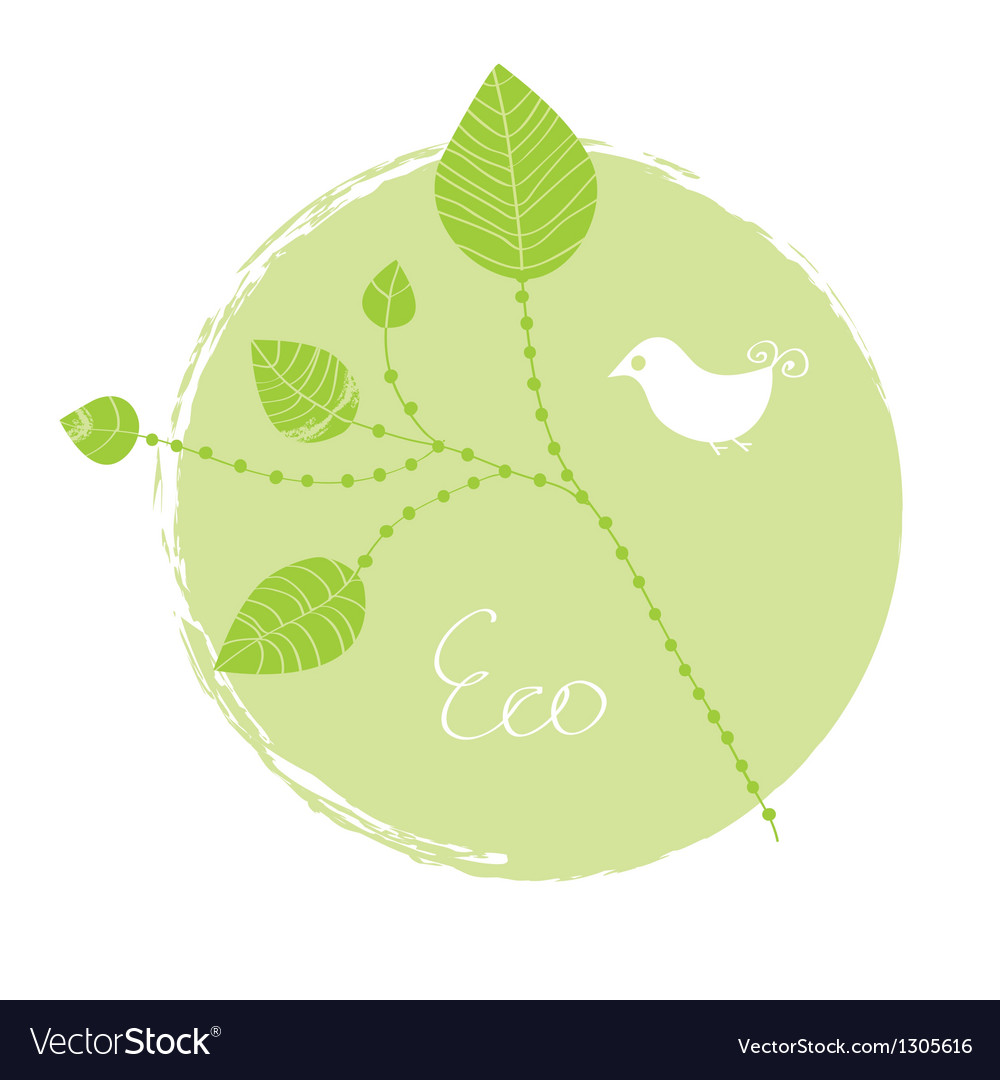 Eco label with leaves vector | Price: 1 Credit (USD $1)