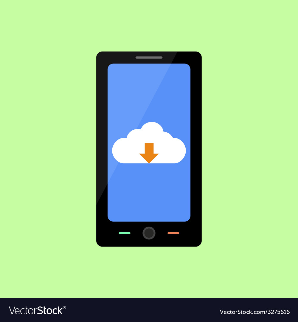 Flat style smart phone with cloud downloading vector | Price: 1 Credit (USD $1)