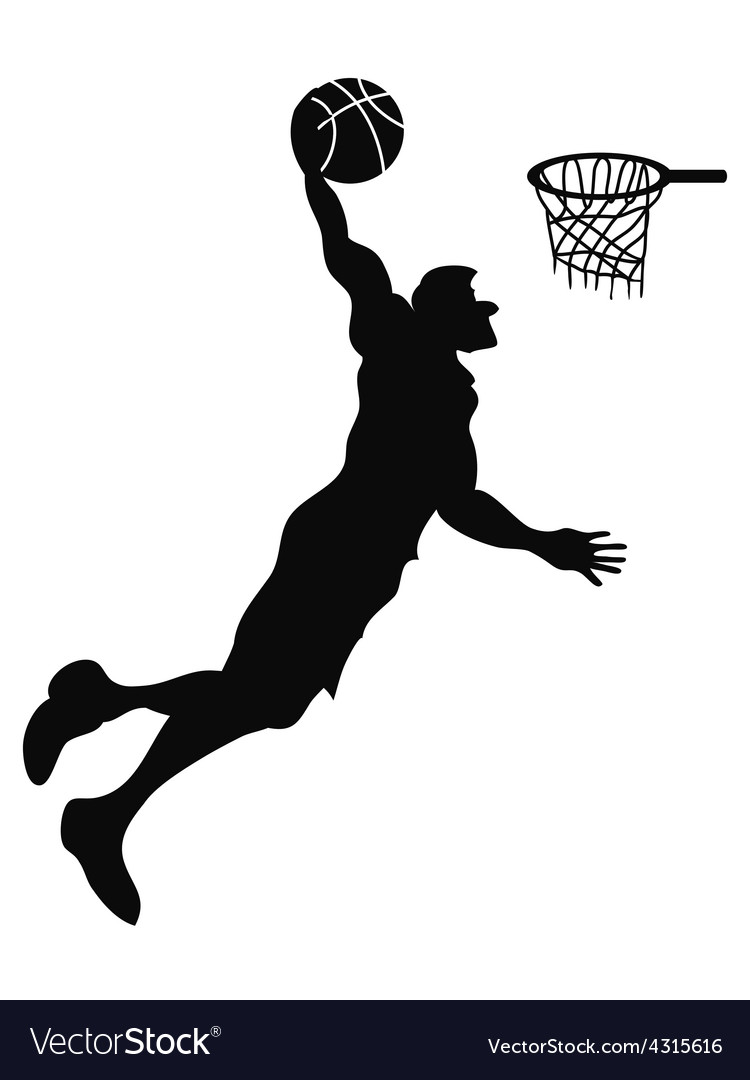 Isolated basketball player slam dunk vector | Price: 1 Credit (USD $1)
