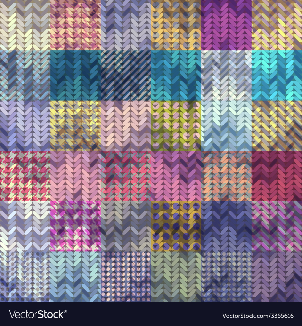 Knitted pattern on patchwork background vector | Price: 1 Credit (USD $1)
