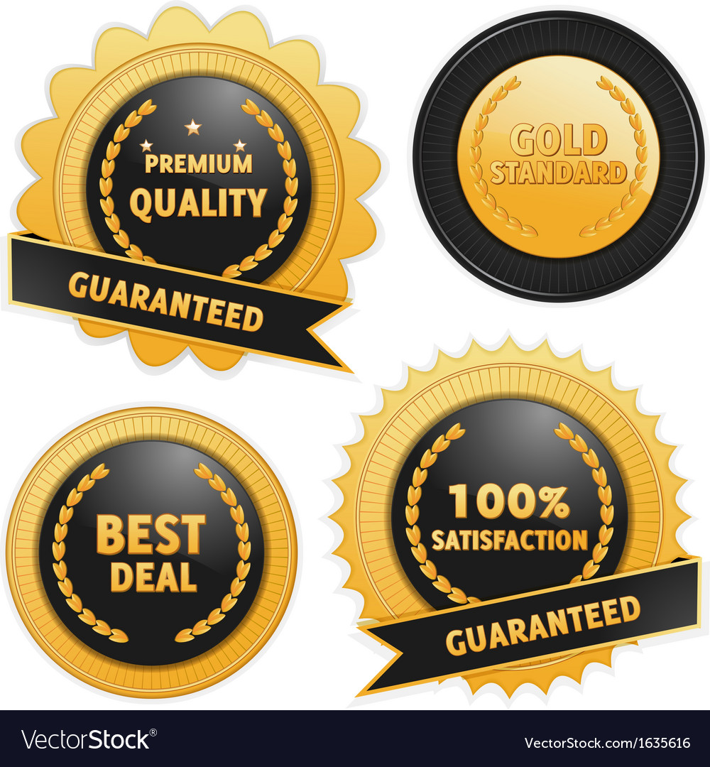 Label badges in black and gold vector | Price: 1 Credit (USD $1)