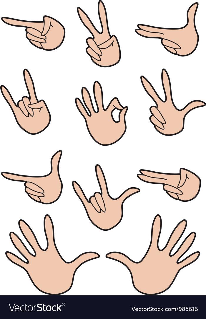 Set of hand gestures vector | Price: 1 Credit (USD $1)