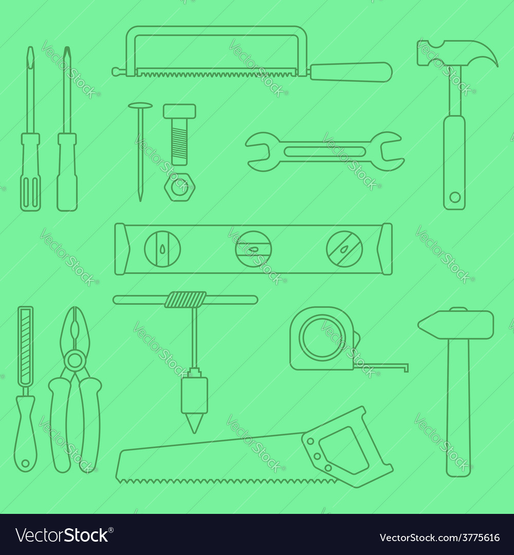 Set of outline hand tools on green background vector | Price: 1 Credit (USD $1)