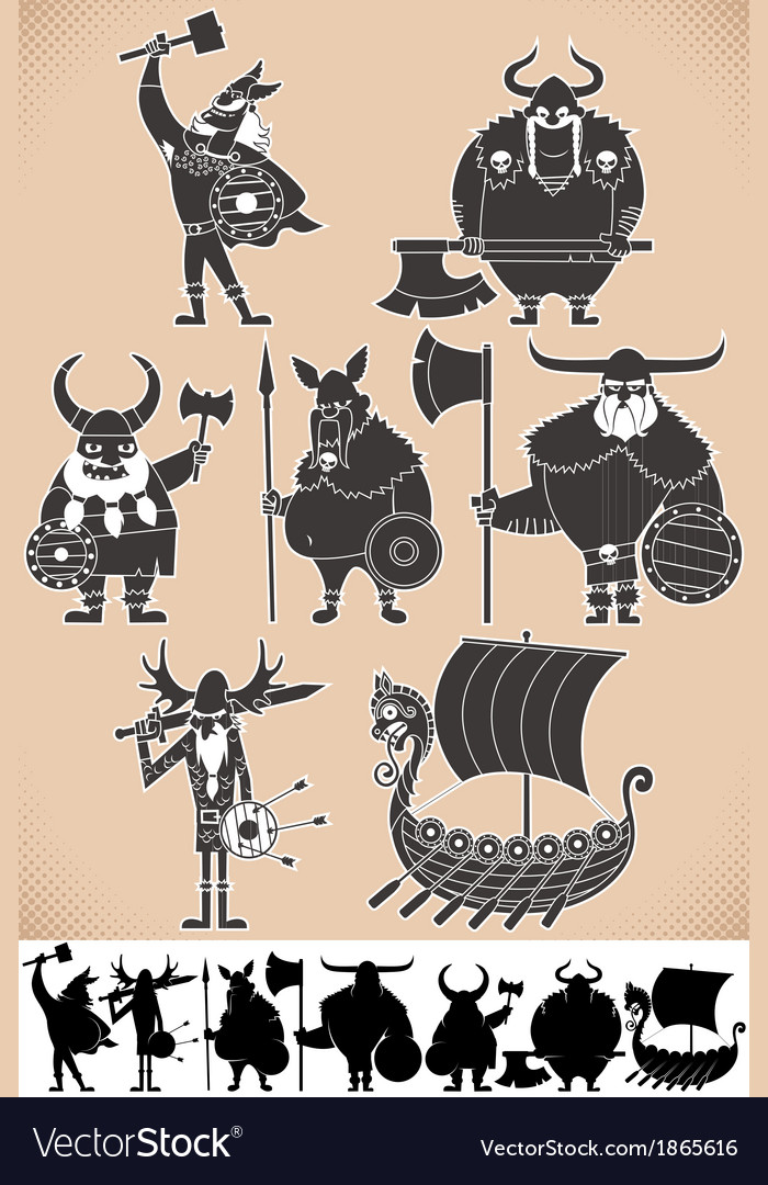 Viking silhouettes vector | Price: 1 Credit (USD $1)
