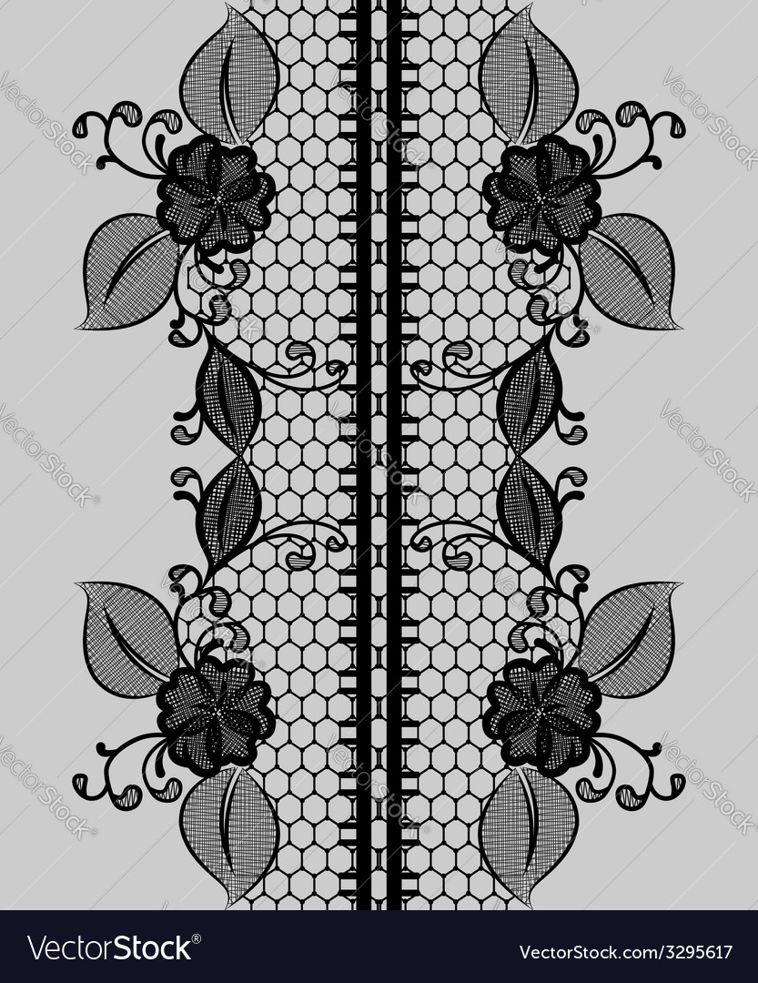 Abstract seamless black lace ribbon with floral vector | Price: 1 Credit (USD $1)