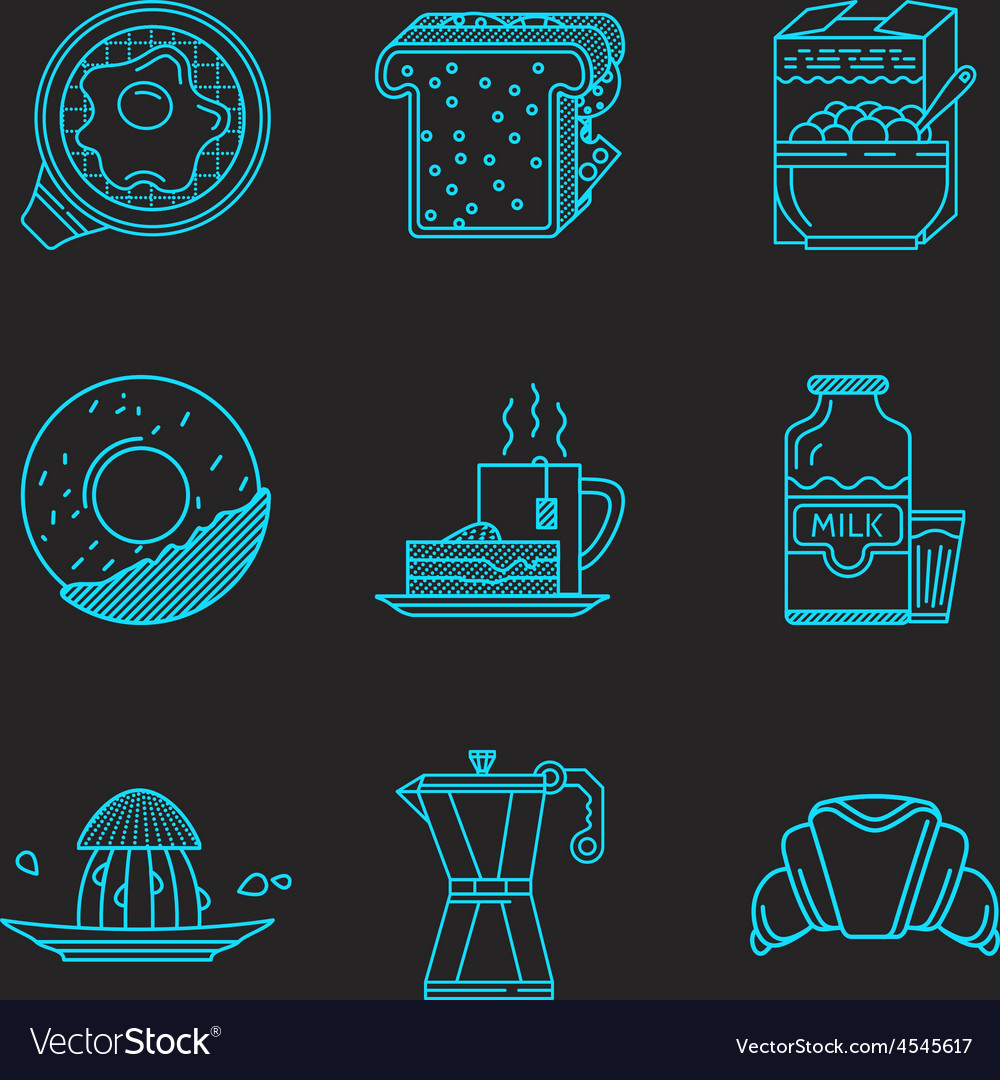 Breakfast blue line icons vector | Price: 1 Credit (USD $1)