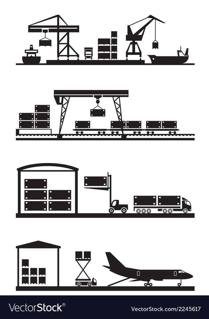 Cargo terminals icon set vector | Price: 1 Credit (USD $1)