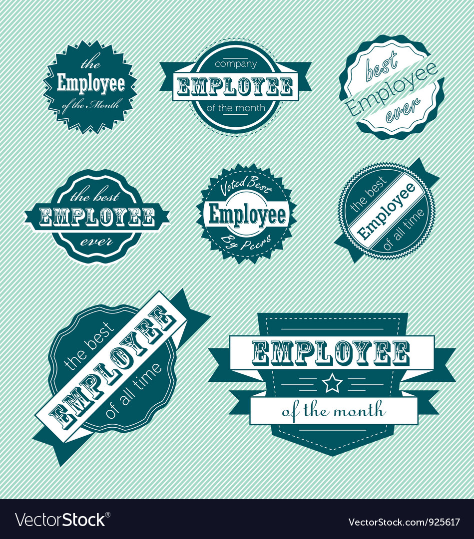 Employee of the month label set vector | Price: 1 Credit (USD $1)