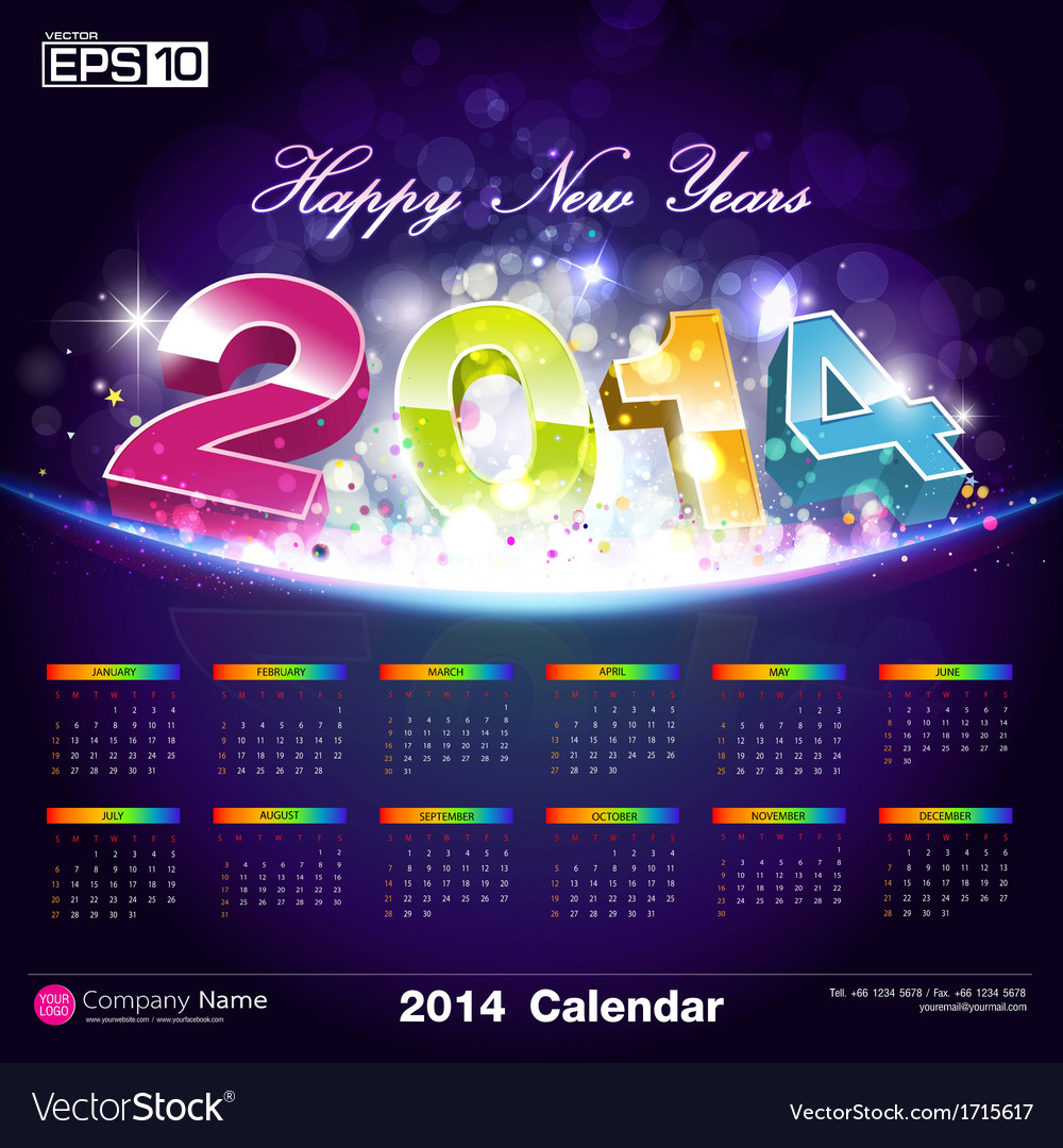 Exclusive calendars 2014 background design vector | Price: 1 Credit (USD $1)