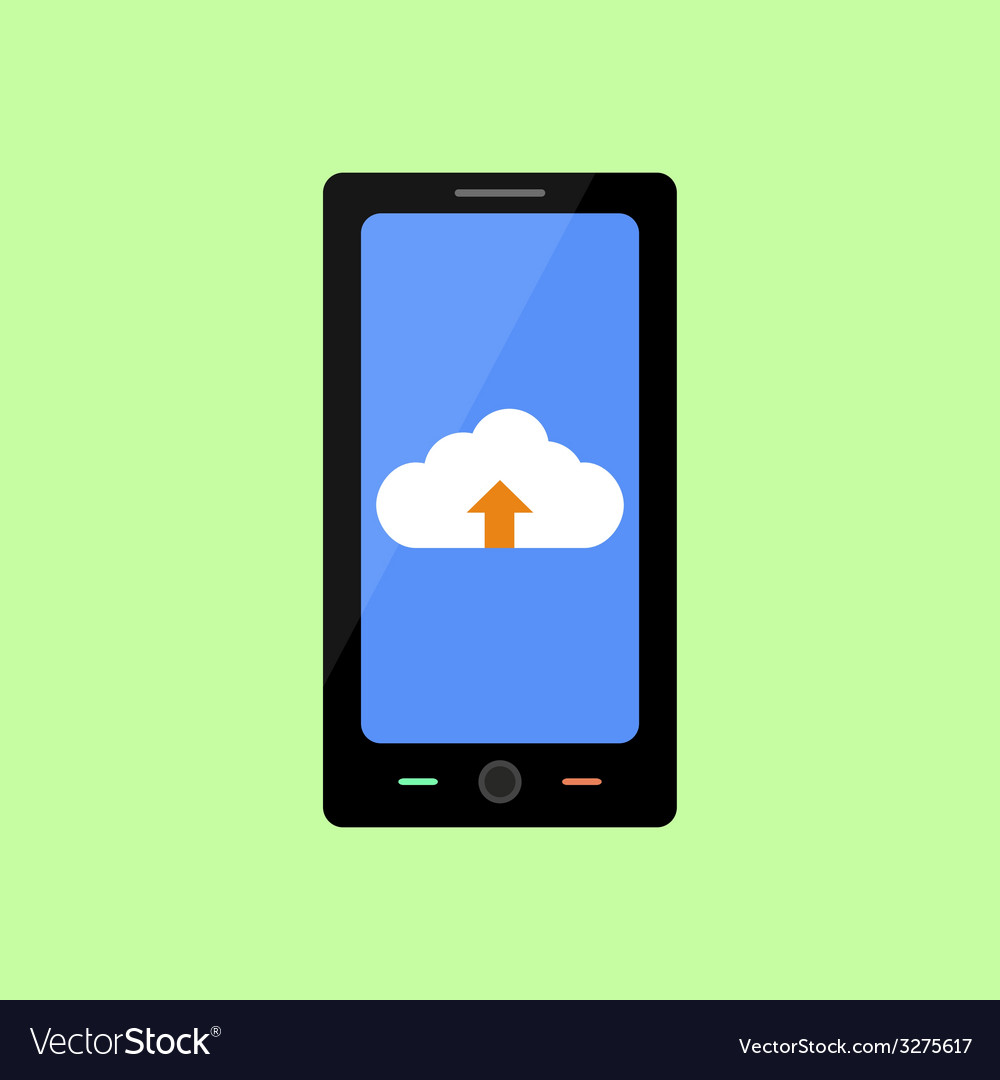 Flat style smart phone with cloud uploading vector | Price: 1 Credit (USD $1)