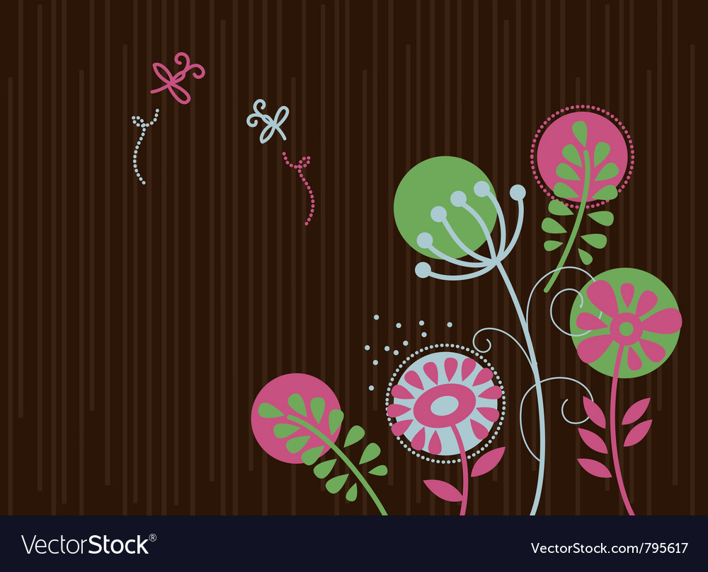 Floral background with cartoon dragonflies vector | Price: 1 Credit (USD $1)