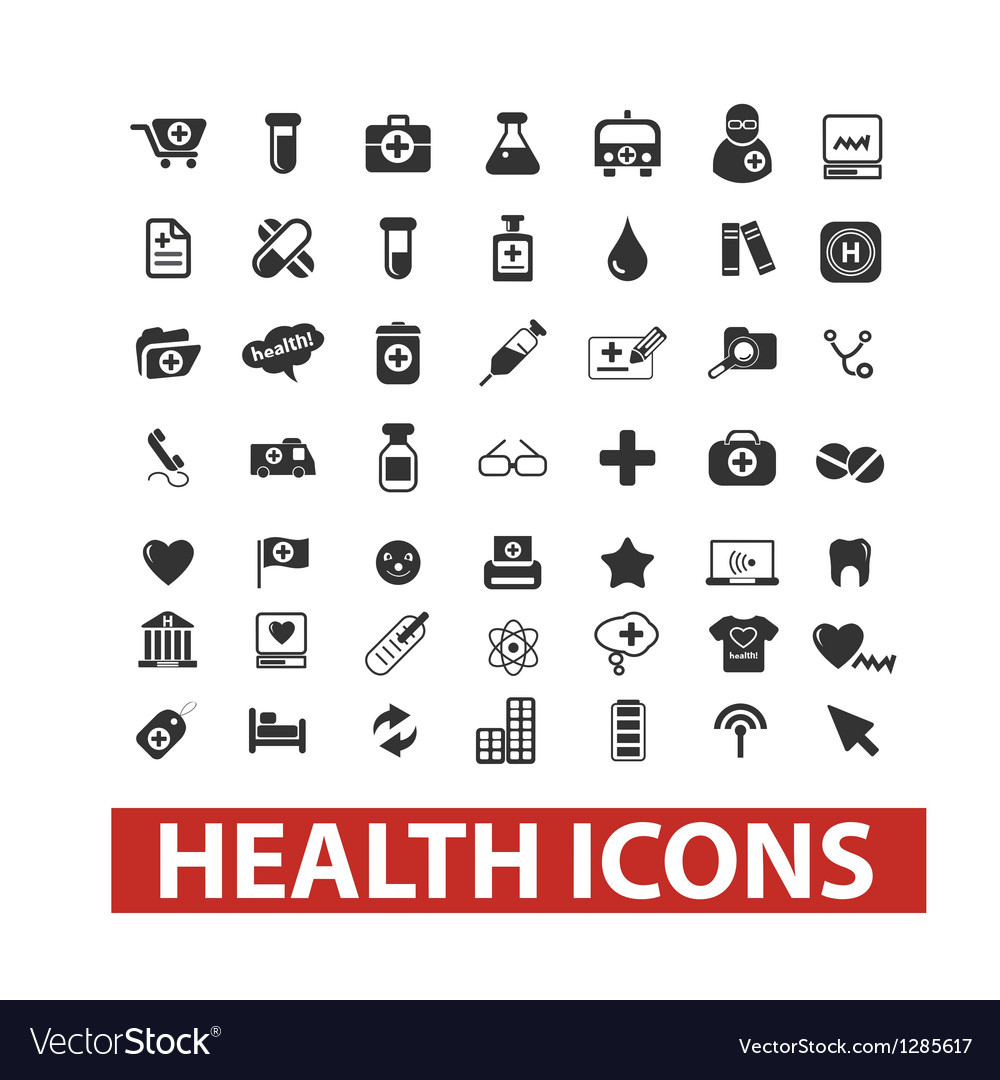 Health icons set vector | Price: 1 Credit (USD $1)