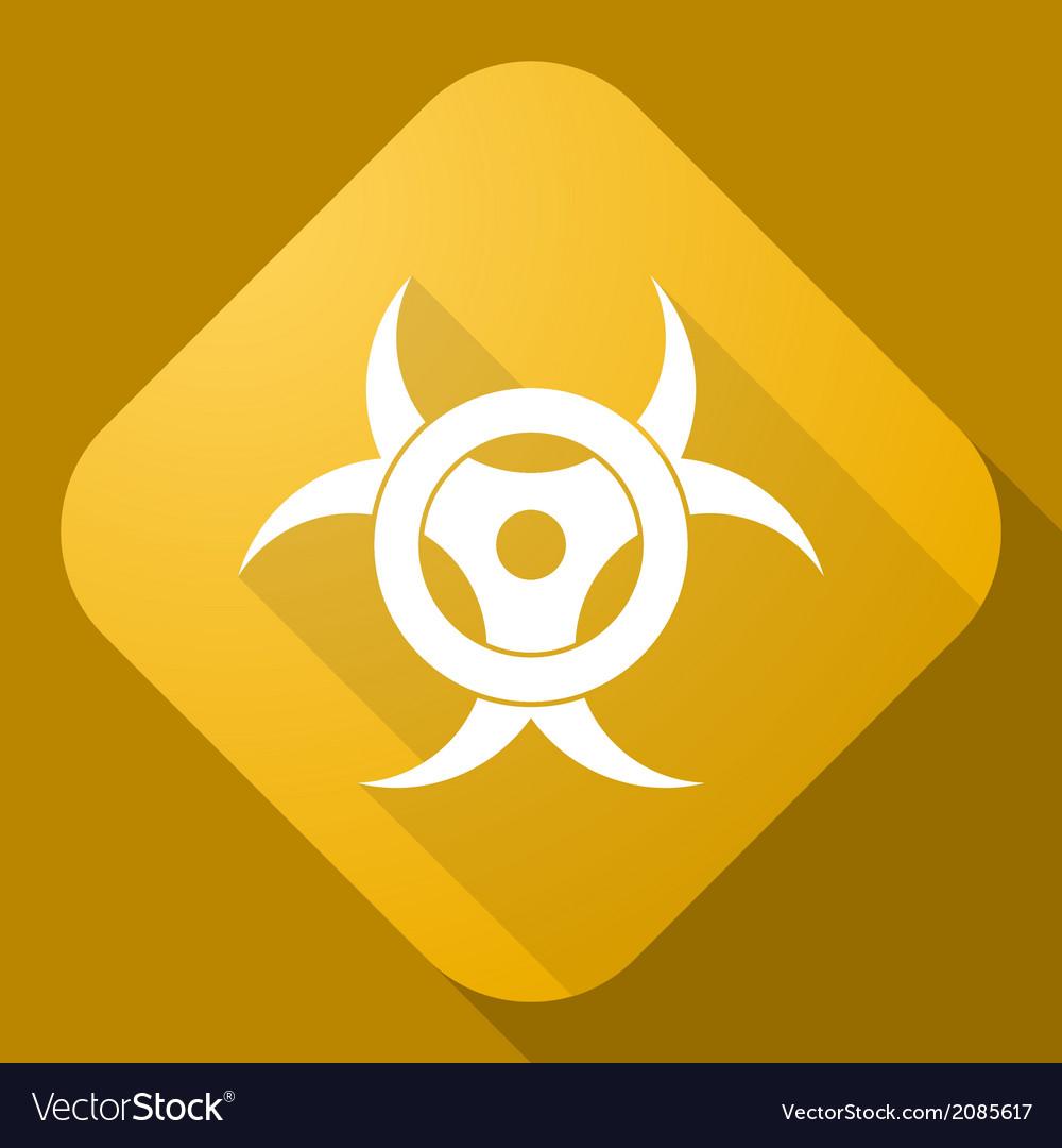 Icon of bio hazard sign with a long shadow vector | Price: 1 Credit (USD $1)