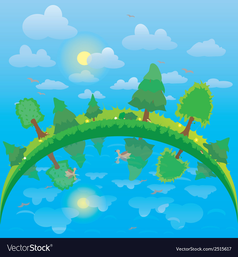Lake and forest vector | Price: 1 Credit (USD $1)